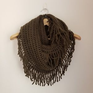 Accessories - Green Infinity Scarf with Fringe
